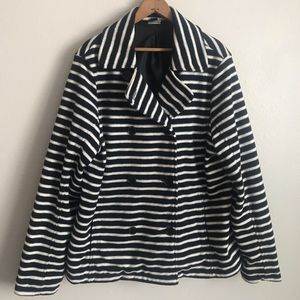 Navy and white striped peacoat